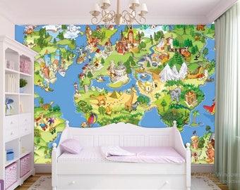 World Map Wallpaper, Children World Map, Kids World Map Wall Decal, World  Map Wall Mural, Education World Map, Kids World Map Decal