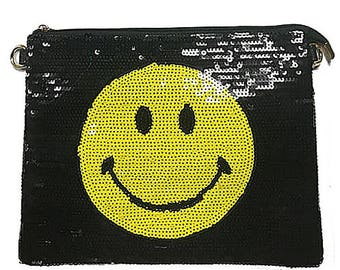 Sequin Smiley Face Clutch