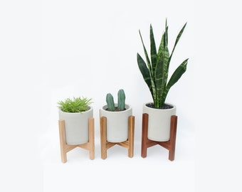 """Mid-Century Modern Wooden Planter Stand with 6"""" Cement Planter"""