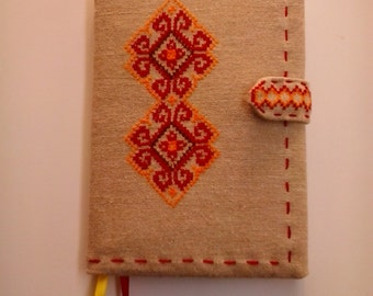 Notepad in an embroidered cover. A5 format, 64 pages, cellule. Ukrainian  traditional  embroidery cross