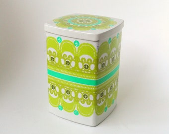Ira Denmark Ethel von Horn square vintage tin container, white and green - paper cut, lace - seventies colorful - 70's - retro