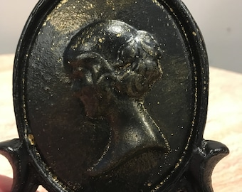 Vintage Black and Gold Cast Metal Bookends with Cameo profile