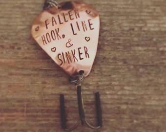 """Hand Stamped Fishing Lure """"Fallen Hook Line & Sinker"""""""