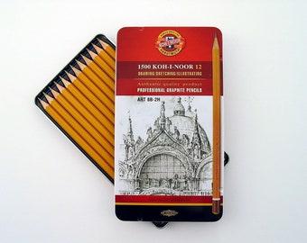 Koh-I-Noor Graphite crayon lot de 12 - 8 b à 2H