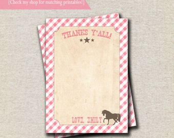 Pony Party Thank You Card - pink and brown | Vintage Cowgirl Thank You Card | Vintage Cowgirl Birthday Party and Baby Shower Printables