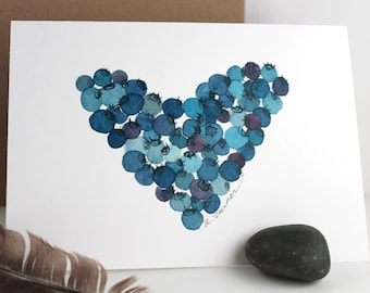 Heart of Blueberries - Original Watercolor Illustration - Note card - Blank - Home Decor