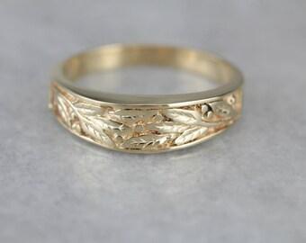 Botanical Gold Band Ring, Nature Inspired Wedding Band THV9HW-R