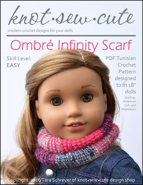 Pixie Faire knot-sew-cute Ombré Infinity Scarf Doll Clothes Tunisian ...
