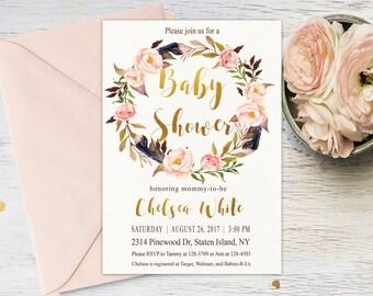 Boho baby shower invitation, Tribal Feather Baby Shower Invitation, Printable Invitation, Girl Baby Shower Invite, Custom invitation, Bo-Ho