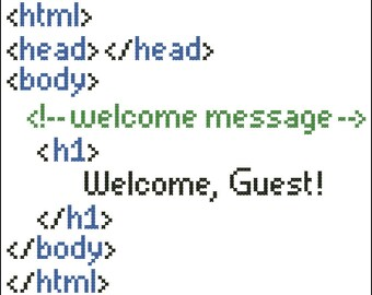 HTML Welcome -- cross stitch pattern, instant download