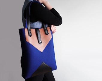 Navy Blue Brown Black Wool Felt Genuine Leather Tote Bag