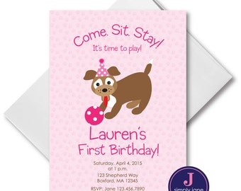 Pink Puppy Party Invitations, Puppy birthday invitation, girl puppy, dog birthday invitation,  custom, printable file,