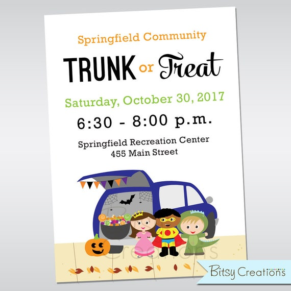 Etsy Seller BitsyCreations Trunk or Treat Flyer
