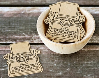 Kraft Typewriter Stickers/Seals - Set of 10, vintage, typewriter, kraft sticker, label, journaling, scrapbooking, packaging, paper supplies