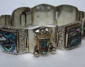 Vintage Estate Hecho En Mexico .925 Sterling Silver Panel Bracelet 38.61g E1729