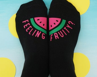 Funny Socks - Feeling Fruity Socks - Watermelon Socks - Funny Valentine's