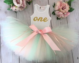 Birthday Outfit Pink Mint Gold Birthday Outfits 1st Birthday Outfit First Birthday Outfit Cake Smash Outfits Tutu Dress Birthday Tutu