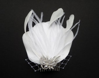 WHITE Feather Hair Piece Bridal Comb Crystal Vintage Style Fascinator Wedding Bridesmaids Hair Accessory 'Delphine'