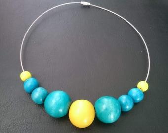 Handmade Summer Wooden Beads Necklace