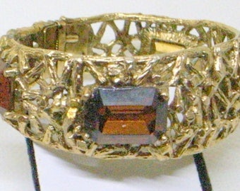 Vintage Brutalist Bracelet WATCH - Fabulous - Set With Topaz Type Stones - Hinged - Clamper Cuff - Runs Fine SALE