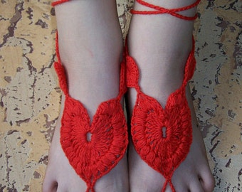 Sexy crocheted barefoot sandals  steampunk, victorian lace, sexy, yoga, anklet ,wedding, beach or pool party- Ready to Ship