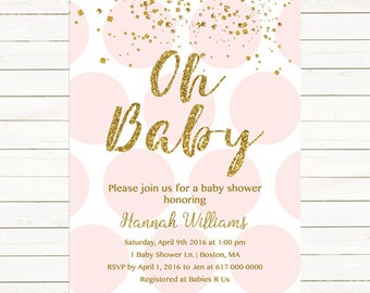 Pink and Gold Baby Shower Invitation, Gold Confetti Baby Girl Shower Invitation, Pink Gold Polka dots Gold and Pink    203 Printable