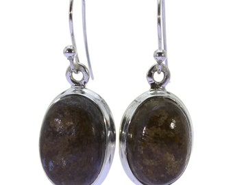 Bronzite Earrings, 925 Sterling Silver, Unique only 1 piece available! color brown, weight 5g, #38878