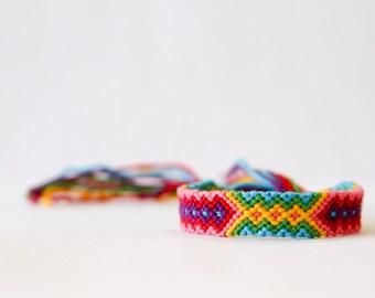 Friendship Bracelet Geometric Tribal Bracelet Red Yellow Green Pink Purple and Turquoise / Stocking Stuffer