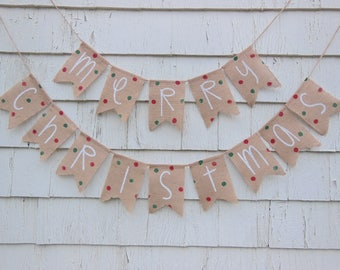 Christmas Decorations, Christmas Sign, Merry Christmas Banner, Merry Christmas Burlap Banner, Burlap Bunting, Holiday Decor, Holiday Banner