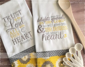 Kitchen Towel Set Embroidered: Bible Verse Towels; Trust in the Lord; Delight Yourself in the Lord; Mothers Day Gift; Bridal Shower Gift