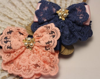 Handmade Kanzashi lace Loop hair Clip women's or girls ' Aligators in two different colors pink and blue