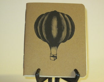 "Handmade Notebook with Vintage Hot Air Balloon Illustration 2 - 4.25"" x 5.5"""