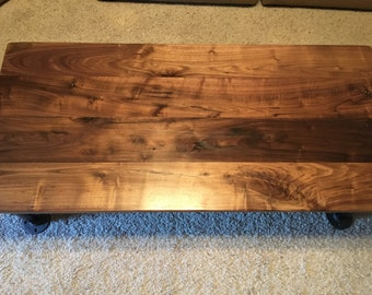 Beautiful Black Walnut Industrial Coffee Table