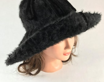Victorian Beaver Hat Black Long Hair Capeline Hat Antique Edwardian Titanic Era