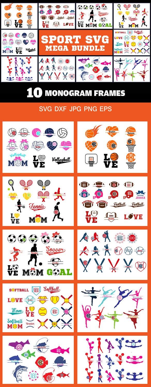 Sport Monogram Frames svg Bundle pack of 10 monogram frame