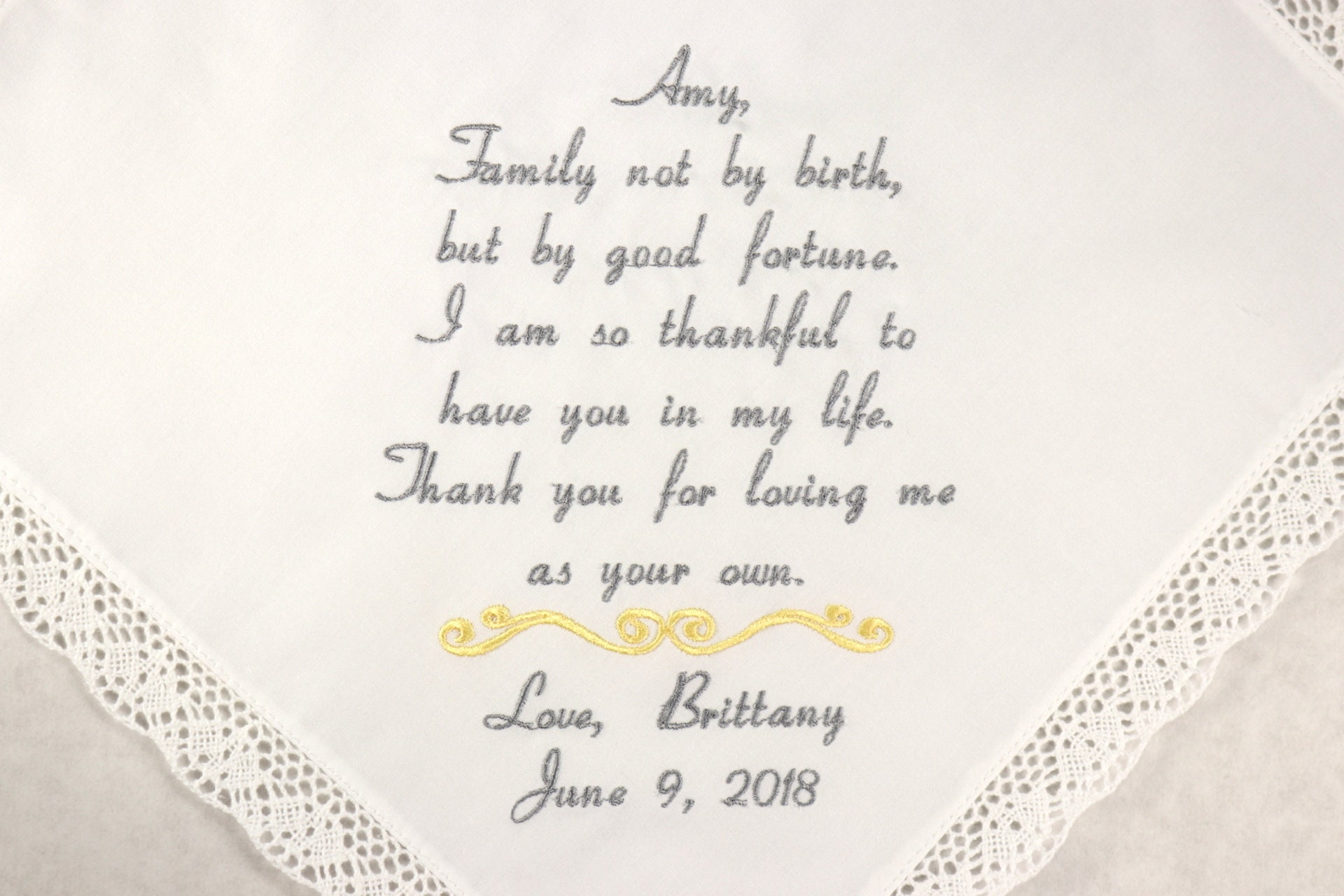 StepMom Wedding gift Embroidered Wedding Handkerchief for Step