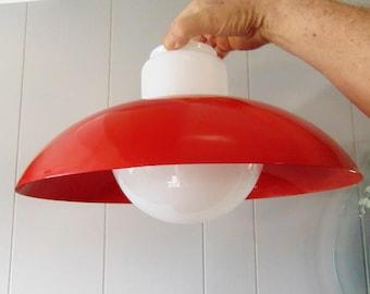 Vintage  Ceiling Light,  Enamel Shade, Milk Glass Globe Light