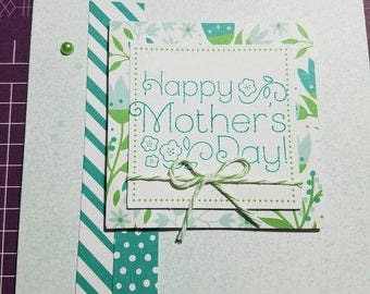 Pretty light teal and green foral Mother's Day card