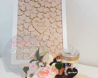 White Drop Box Frame with wooden hearts - Alternative Wedding / Engagement / Birthday Guest Book - Signature Board