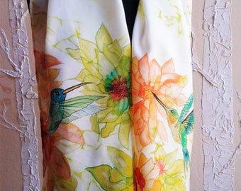 Hand Painted China Silk Scarf with Hummingbirds and Flowers in Chartreuse, Marigold, Teal, Emerald, Orange, Gold