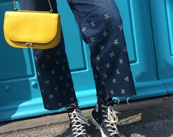 Hand Painted Daisy Jeans