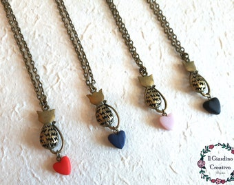 Cat Necklace in Love, heart