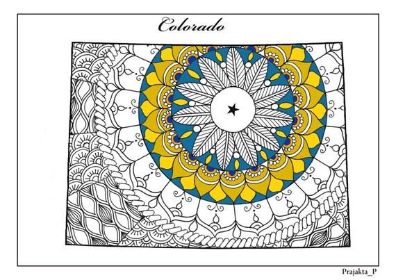 Para colorear páginas para adultos Colorado mapa USA mapa