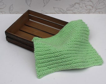 Green Mini-Blanket, Alpaca/Merino Blanket, Chunky Green Layer, Light Green Garter Stitch Blanket, Newborn Photo Prop, Sitter Photo Prop