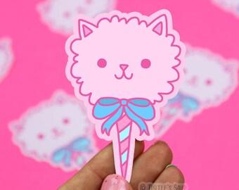 Cotton Candy, Cat Sticker, Cute Vinyl Stickers, Candy Kitty, Vaporwave, Bubblegum Aesthetic, Japanese Inspired, Kawaii, Neko, Fairy, Dreamy