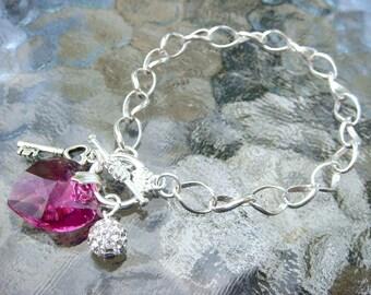 Heart Charm Bracelet With Key, Magenta Swarovski Heart And Ball Charm Toggle Bracelet, Bridesmaids Gift, Wedding Party, SALE