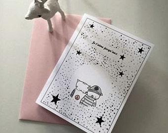 """Folded card for children """"Choumi et Michou : je t'aime jusqu'aux étoiles"""""""