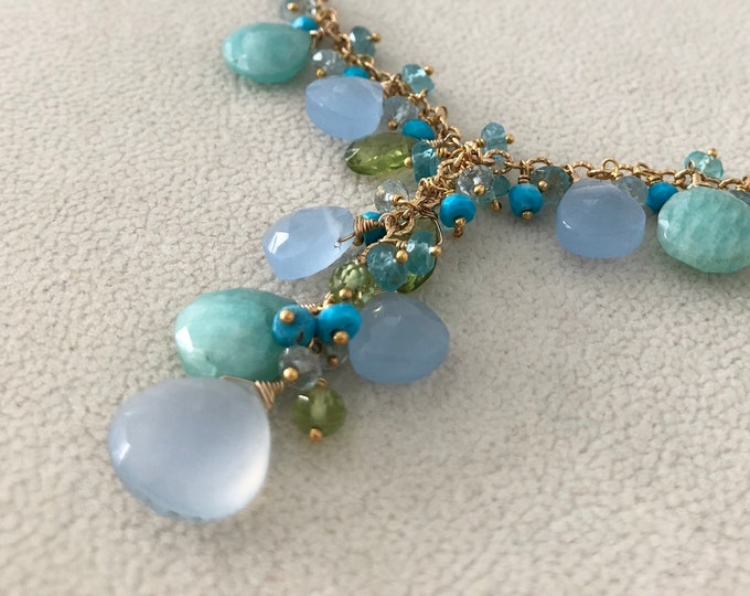 Gemstone Y-Necklace in Gold Vermeil and Blue Chalcedony, Amazonite, Peridot, Blue Topaz, Turquoise, Moonstone, Apatite, Prehnite-Sea Glass