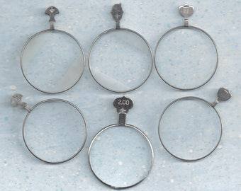 6 Vintage Optical lenses.. clear and frosted