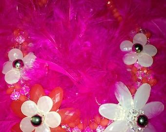 Vtg 90's BOHEMIAN ROMANTIC daisy necklace S/M